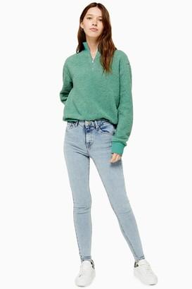 Topshop Womens Bleach Abraided Hem Jamie Skinny Jeans - Bleach Stone
