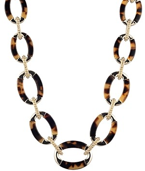 Ralph Lauren Gold-Tone & Synthetic Tortoise Inlay Collar Necklace, 16