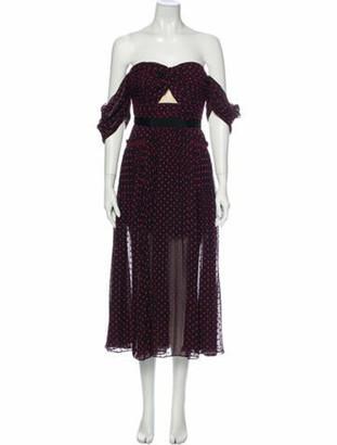 Self-Portrait Polka Dot Print Midi Length Dress Purple