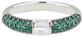 Ri Noor Stacked Half Eternity Band With Pave Set Emeralds & Baguette Diamonds