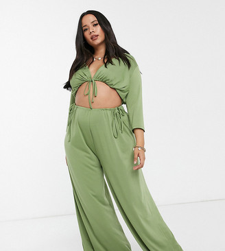 ASOS DESIGN curve jersey slinky tie front beach crop top co ord in khaki