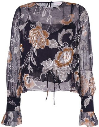 See by Chloe Drawstring Floral Blouse