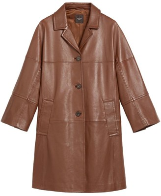 Max Mara Leather Button-Up Coat