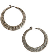 Lucky Brand Earrings, Large Twisted Silver-Tone Hoop