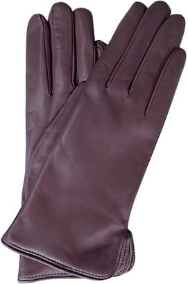 Forzieri Purple Leather Women's Gloves w/Cashmere Lining