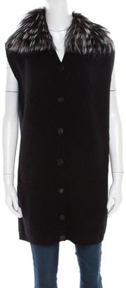 Fendi Black Tonal Chevron Patterned Cashmere Fox Fur Trim Cardigan M