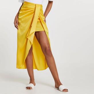 River Island Womens Yellow satin front tie midi skirt