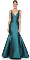 Monique Lhuillier Mermaid V Neck Gown