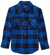 Ralph Lauren Cotton Plaid Western Shirt, Black, Size 2-7