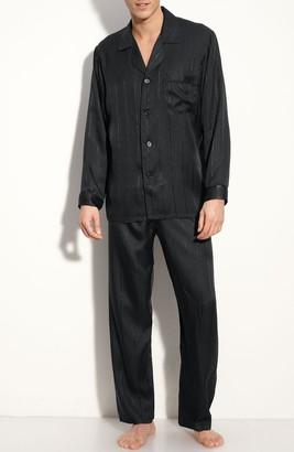 Majestic International Herringbone Stripe Silk Pajamas