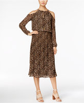 MICHAEL Michael Kors Animal-Print Cold-Shoulder Dress, A Macy's Exclusive