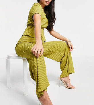 Club L London Petite ribbed flared pants set in green