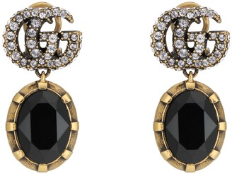 Gucci Double G earrings with black crystals