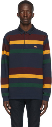 Etro Multicolor Striped Long Sleeve Polo