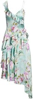 Theia Asymmetrical Floral Ruffle Dress