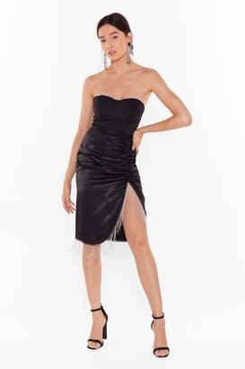 Nasty Gal Womens Takes Two to Tango Satin Fringe Skirt - Black - 8, Black
