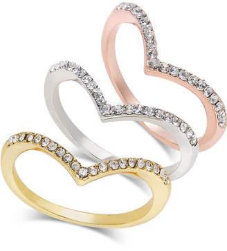 INC International Concepts Inc Tri-Tone 3-Pc Set Crystal Chevron Stackable Rings