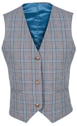 L2r The Label V2 | Wool Vest in Blue and Grey Prince of Wales