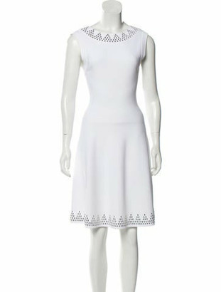 Alaia Embellished Knee-Length Dress w/ Tags White