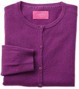 Charles Tyrwhitt Purple Merino Cashmere Cardigan Size 14