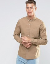 Asos Textured Twill Shirt In Camel With Long Sleeves