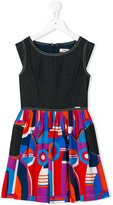 Junior Gaultier printed flared dress - kids - Cotton/Viscose - 6 yrs