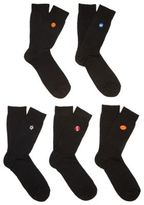 F&F 5 Pair Pack of Embroidered Socks, Men's