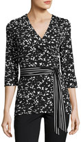 Laundry by Shelli Segal Floral-Print Wrap Top, Black