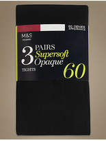 M&S Collection 3 Pair Pack 60 Denier Supersoft Opaque Tights