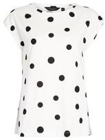 Dorothy Perkins Womens Organic Cotton Spot Print Roll Sleeve T