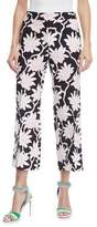 Valentino Rhododendron-Print Mid-Rise Straight-Leg Ankle Pants