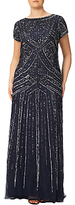 Adrianna Papell Plus Size Geometric Beaded Gown, Navy