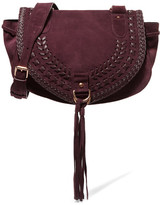 See by Chloe Collins Medium Suede And Textured-leather Shoulder Bag - Plum