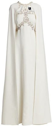 Marchesa Notte Embellished A-Line Cape Gown