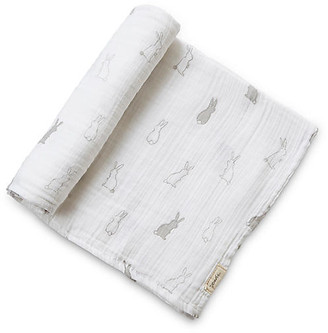 Pehr Bunny Hop Cotton Swaddle - White/Gray