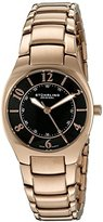 Stuhrling Original Women's Quartz Watch with Black Dial Analogue Display and Stainless Steel Rose Gold Plated Bracelet 112L.12441