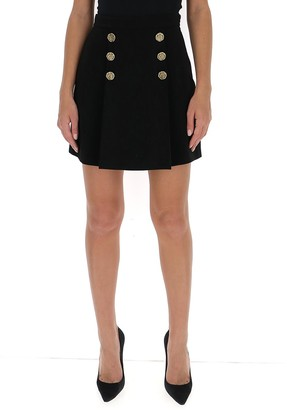 Elisabetta Franchi Crepe Button Detail Skirt