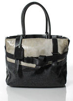 Reed Krakoff NWT Dark Grey Glazed Calfskin Leather Wool Boxer Tote Handbag
