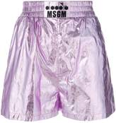 MSGM metallic faux leather track shorts