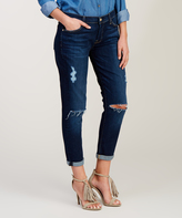 7 For All Mankind Dark Blue Distressed Josefina Roll-Cuff Ankle Jeans