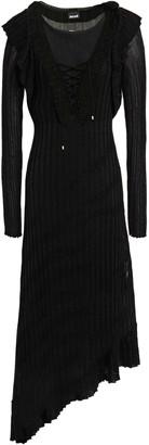 Just Cavalli Lace-up Metallic Ribbed-knit Midi Dress
