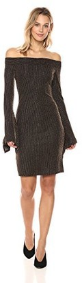 BCBGMAXAZRIA Azria Women's Ellena Metallic Knit Off The Shoulder Dres