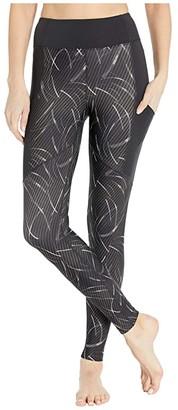 Asics Core Train Print Tights (Performance Black) Women's Clothing