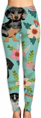 ANTOUZHE Doxie Dachshunds Florals Cute Dog Yoga Pants for Women Sport Tights Workout Running Leggings Autumn Trousers