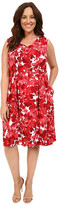 London Times Plus Size Forest Floral V-Neck Fit & Flare Dress