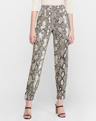 Express High Waisted Snakeskin Cargo Ankle Pant