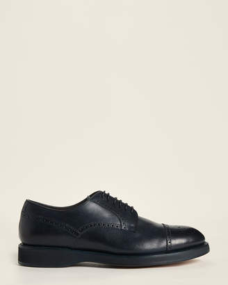 Brioni Navy Brogue Leather Derby Shoes