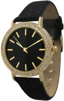 Olivia Pratt Denim Rhinestone Leather Watch.