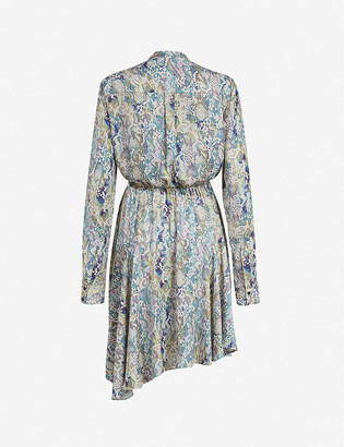 AllSaints Martina snakeskin-print crepe mini shirt dress