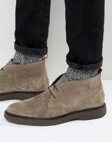 Asos Chukka Boots With Wedge Sole In Gray Suede